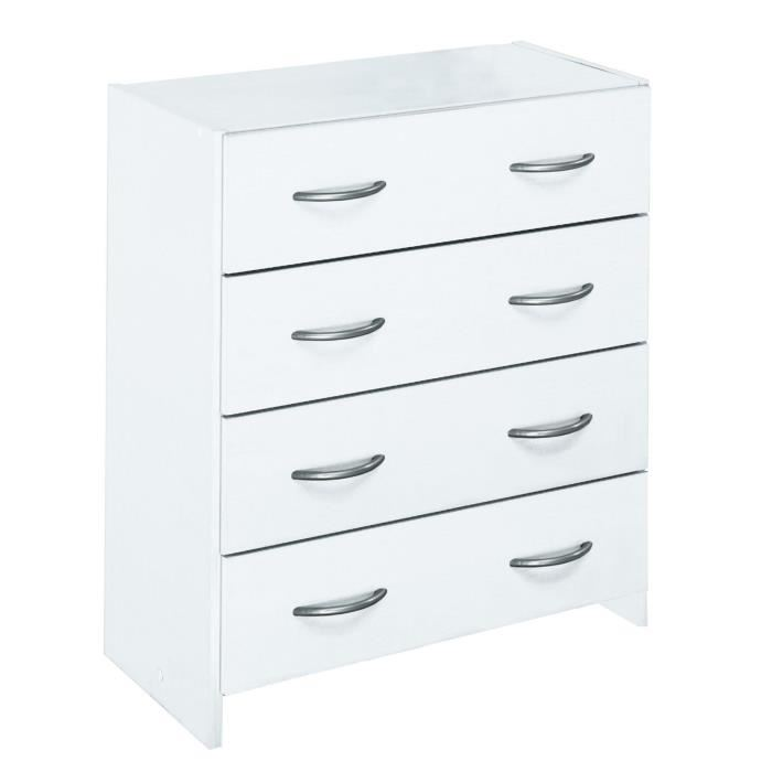 commode blanche 4 tiroirs